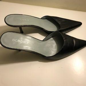 BCBGirls Sleek Black Leather Mule